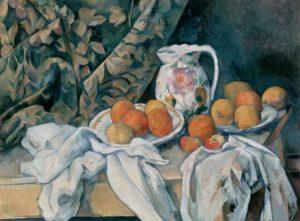 Paul Cézanne - Naturaleza Muerta con Cortina